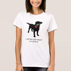 Cute Black Lab Valentine Dog holding Red Rose
