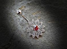 Pink Paved Gems Flower with Center CZ 316L Surgical Steel Navel Ring