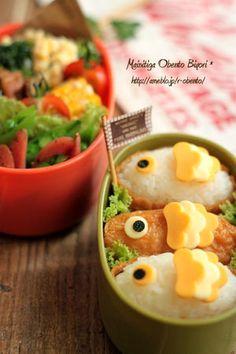 鯉のぼり稲荷弁当と作り方♪~キャラ弁~|毎日がお弁当日和♪ : 【簡単彩りレシピ】《いなり寿司》アレンジ 行楽弁当やパーティに - NAVER まとめ Japanese Rice, Bento, Food Art, Naver, Breakfast, Morning Coffee, Bento Box