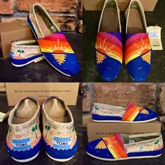 Ocean Sunset hand painted TOMS Price based on Poshmark commission! Please visit my site www.etsy.com/shop/TrueColorsCT for $30 off. Hand painted (by me) to order. Takes 1-2 weeks to ship. Ask questions! I love custom orders! TOMS Shoes Flats & Loafers