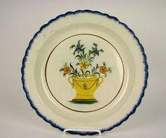 Antique Leeds Pratt color Yellow Basket of Flowers Charger Pearlware Glaze 19th cen ebay $1600
