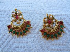On Sale Red and Green Stone Chandbali with Pearls by Alankaar