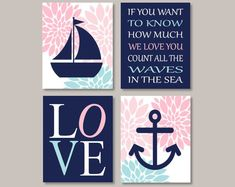 Nautical Nursery Decor, Floral Nursery, Nursery Prints, Wall Art Prints, Kids Room Wall Art, Nursery Wall Art, Girl Nursery, Coral Wall Art, Cuadros Diy