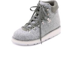 Diemme Roccia Vet Hiker Booties ($410) ❤ liked on Polyvore featuring shoes, boots, ankle booties, light grey melange, lace up booties, low heel ankle booties, diemme boots, low heel boots and rubber sole boots