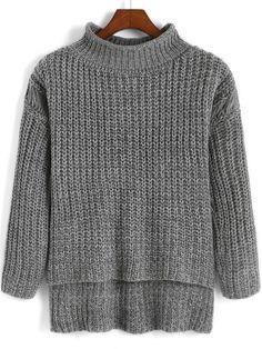 Grey High Neck Dip Hem Knit Sweater