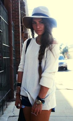 messy side braid + sweater + hat
