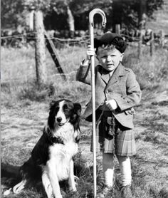 Vintage photo of a boy and his dog
