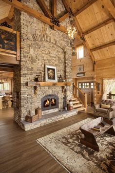 Rustic Home Design, Dream Home Design, Wood House Design, Log Home Designs, Home Fireplace, Fireplaces, Log Cabin Homes, Cabins, Timber House