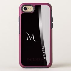Elegant black white silver name and monogram OtterBox symmetry iPhone 8/7 case - black and white gifts unique special b&w style