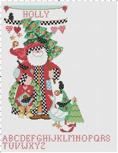 Folk Art Stocking Counted Cross Stitch Pattern