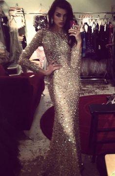 dress formal prom sparkle glitter model long long sleeve jewels