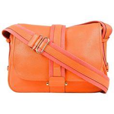 "Hermes Orange Clemence Leather Rose Jaipur Canvas Trim ""Bourlingue"" Flap Bag"