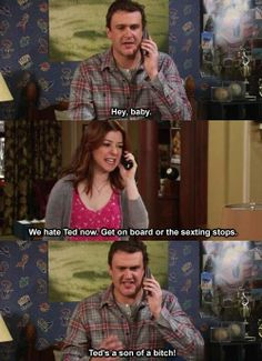 """How I Met Your Mother: Lily and Marshall """"we hate Ted now"""""""