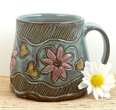 Handmade pottery mug.