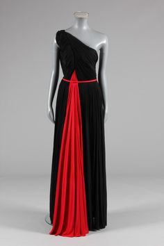 A Madame Gres couture asymmetric draped black and scarlet Hellenic-style evening gown, circa 1947