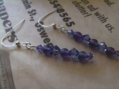 Purple Swarovski Earrings Solid Sterling Silver by ArtisticSparkle, $20.00