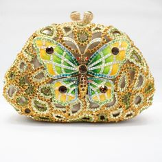 2012 Hot New Gorgeous Clutch Handbag Evening Purse Animal Butterfly Handbag Swarovski Crystal