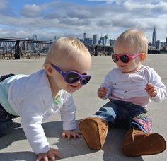 Twins back in our purple and pink babiators #babiatorsnation