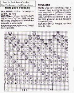 \ PINK ROSE CROCHET /: Rede Crochê de Varanda com Gráfico