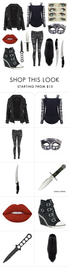 """""""Creepypasta OC Girl"""" by lexi-love123 ❤ liked on Polyvore featuring AllSaints, Chef Works, Lime Crime and Ash"""