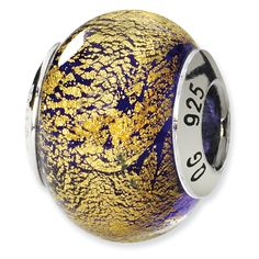 Sterling Silver Reflections Gold/Purple Italian Murano Bead