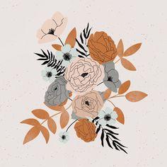Fall Floral Bouquet Illustration Art Print