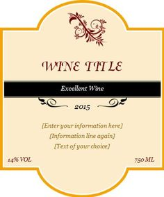 You can avail oneself of label template to create superb and handsome stickers for redesigning the stickers. These Wine Label Template Word are the Personalized Wine Labels, Custom Wine Labels, Wine Bottle Labels, Wine Label Design, Label Templates, Business Templates, Templates Free, Wine Delivery, Custom Design