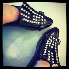 My shoes ... Singapore label Depression AW2012 studded leather 'wing' wedge brogues ... totally love these!
