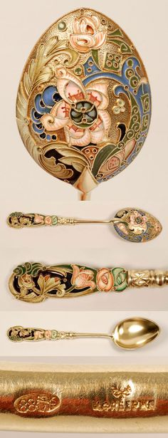 A Faberge silver glit, cloisonne and pique-a-jour enamel spoon, Moscow, circa 1896-1908. The egg-shape bowl decorated with an asymmetrical multi-color scrolling floral, foliate and geometric motif against a gilded ground. The shaped, flat handle similarly enamelled around a deep purple plique enamel center.