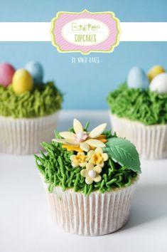Frohe Ostern Dessert Idee: Osternest Cupcakes mit Ostereiern