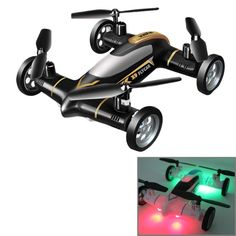 Syma X9 4-Channel 360 Degree Flips 2.4GHz Radio Control Flying Car / Quadcopter with 6-axis Gyro & LED Light(Black)