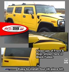 Vehicle Specific Graphic kits for Hummer H2 and H2 SUT that are Precut and ready to install.