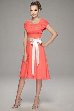 Salmon square A-line short sleeves sash bowknot pleated tea-length Bridesmaid Dress BD251045