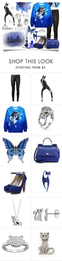 """""""Feline Fashion"""" by jeneric2015 ❤ liked on Polyvore featuring AG Adriano Goldschmied, Bling Jewelry, Dolce&Gabbana, Bubbly Bows, Cara and catstyle"""
