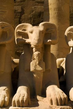 Ram headed Sphinx, Karnak Temple, Egypt. The ram-headed sphinx is a symbol of the god Amun.
