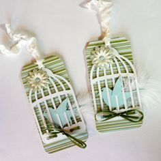 Bird in a Cage Gift Tags/ Set of 2/ Tweeting by valburgesscollage, $5.50-Cute!