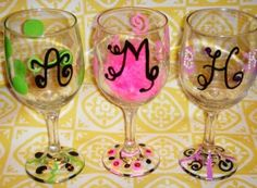 Decorating wine glasses- this would be a cute idea for the brides maids at a wedding to drink out of got to do this wedding coming up lol.