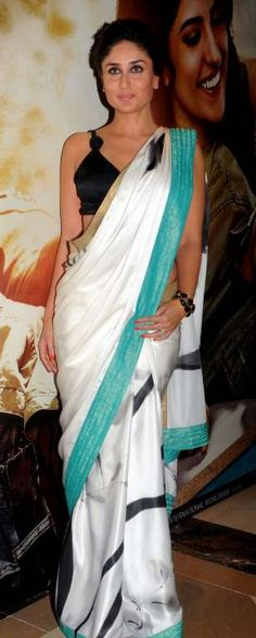 Kareena in white and emerald green Satya Paul saree.