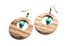 Wooden Circle Earrings with Turquoise Bead  by ngnicolegagnon, $35.00