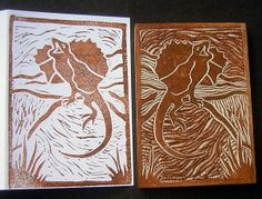 Printed card and lino block - great illustration for the kids to understand what to expect.