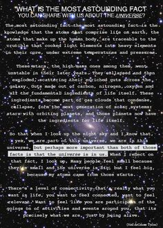 """Neil Degrasse Tyson ~ The Most Astounding Fact About the Universe?  ~   """"the universe is in us"""""""