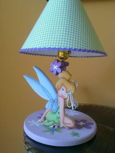 Tinkerbell lamp for girls  Lampara de Campanita Tinkerbel Metal Crafts, Clay Crafts, Tole Painting, Painting On Wood, Reusable Things, Kids Lamps, Country Paintings, Wooden Lamp, Ribbon Crafts