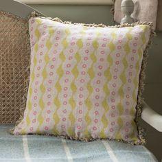 Bloomsbury Linen Cushion - Green / Pink