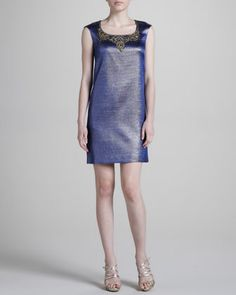 Embroidered-Neck Cocktail Dress, Navy by Notte by Marchesa at Neiman Marcus.