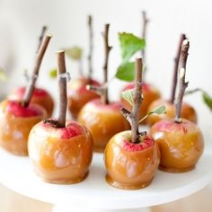 Love!! this idea for dessert or a wedding favor if put in shrink wrap w/ a label. Use bite size, miniature, apples and small branches w/ leaves. Make some plain salted caramel or and some w/ nuts + etc. (If you're planning for a fall wedding, gourmet apples would be a perfect sweet treat for your guests. Photo by Allyson Baker Design.)