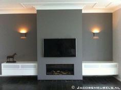 gás - Interior style -Lareira a gás - Interior style -a gás - Interior style -Lareira a gás - Interior style - Tv Over Fireplace, Modern Fireplace, Fireplace Wall, Fireplace Design, Living Room With Fireplace, New Living Room, Home And Living, Living Room Decor, Muebles Living