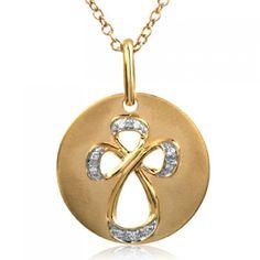 "Jessica Simpson, ""I Am Devoted"", 10K Yellow Gold Diamond Cross Medallion Necklace, .05 ctw."