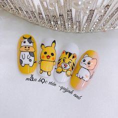 Cartoon Nail Designs, Nail Art Designs Videos, Grunge Nails, Swag Nails, Cute Nail Art, Cute Nails, Wallpaper Telefon, Nail Drawing, Animal Nail Art