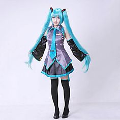 """HOT PRICES FROM ALI - Buy """"Hatsune Miku high quality Clothing Hatsune Miku Cosplay Formula halloween Cosplay Costume kit Japanese Mid Dress Set"""" from category """"Novelty & Special Use"""" for only USD. Cosplay Vocaloid, Cosplay Anime, Hatsune Miku Costume, Buy Cosplay, Cheap Cosplay Costumes, Cute Costumes, Spooky Costumes, Cartoon Outfits, Costume Halloween"""