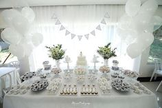 Close-up view of the sweets + desserts on an Elegant White Baptism Dessert Table via Kara's Party Ideas | KarasPartyIdeas.com (12)